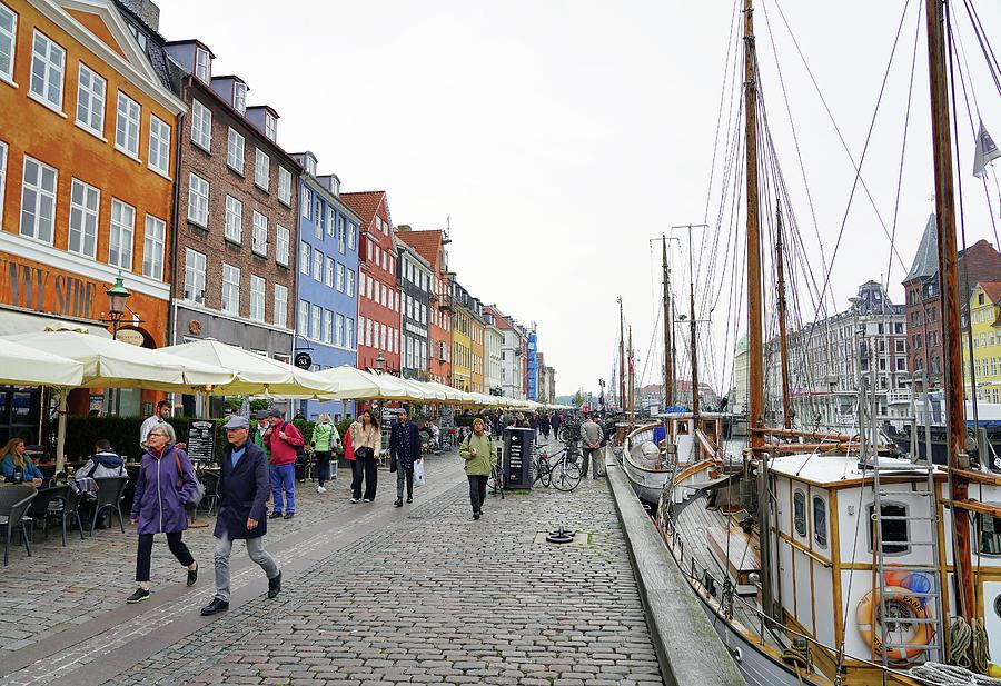 Pedestrian Walkway In The Nyhavn Area Of Copenhagen Denmark by Richard Rosenshein
