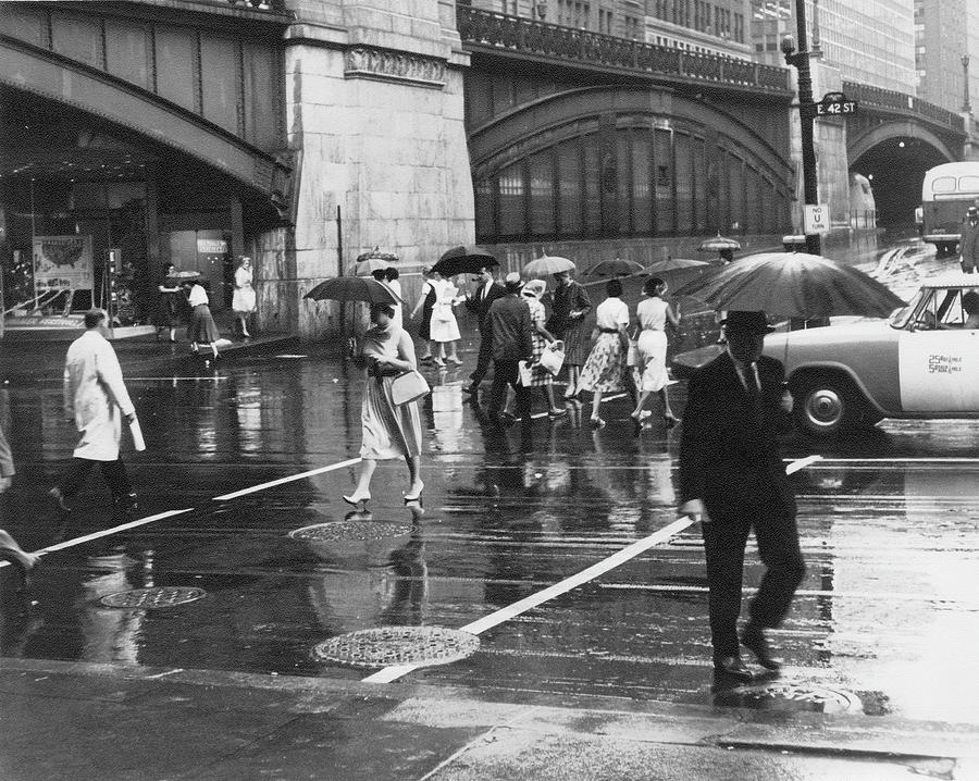 Pedestrians Hold Umbrellas Photograph by The New York Historical Society