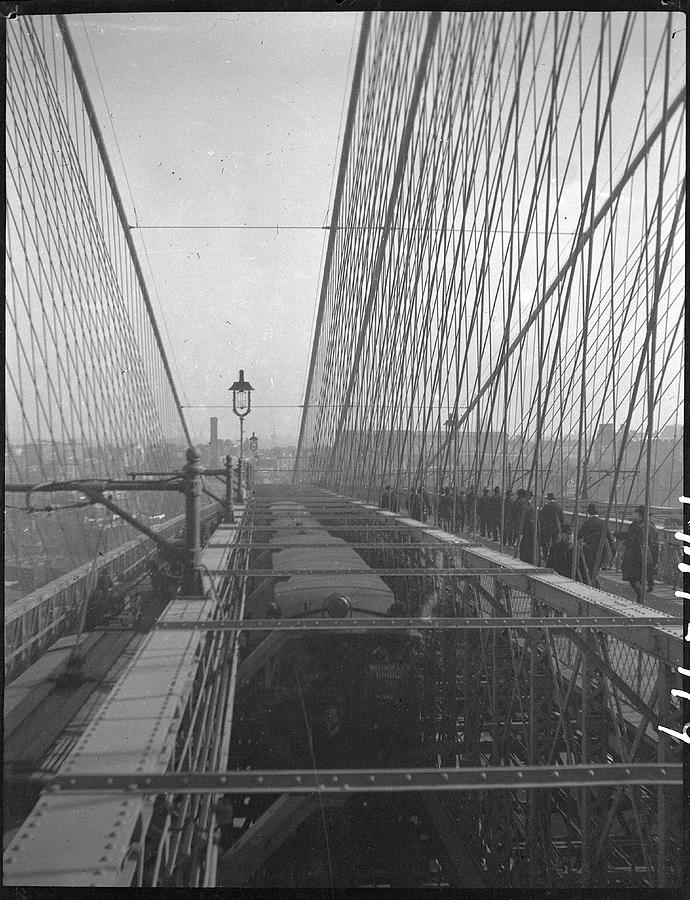 Pedestrians On The Brooklyn Bridge Photograph by The New York Historical Society
