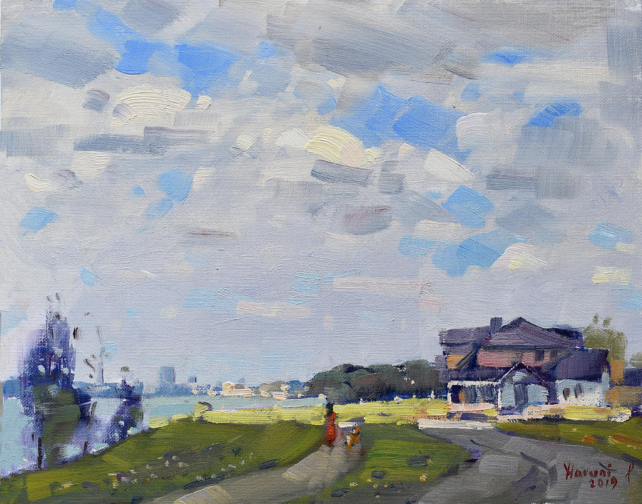 Waterfront Painting - Peekaboo Sun At Gratwick Park by Ylli Haruni