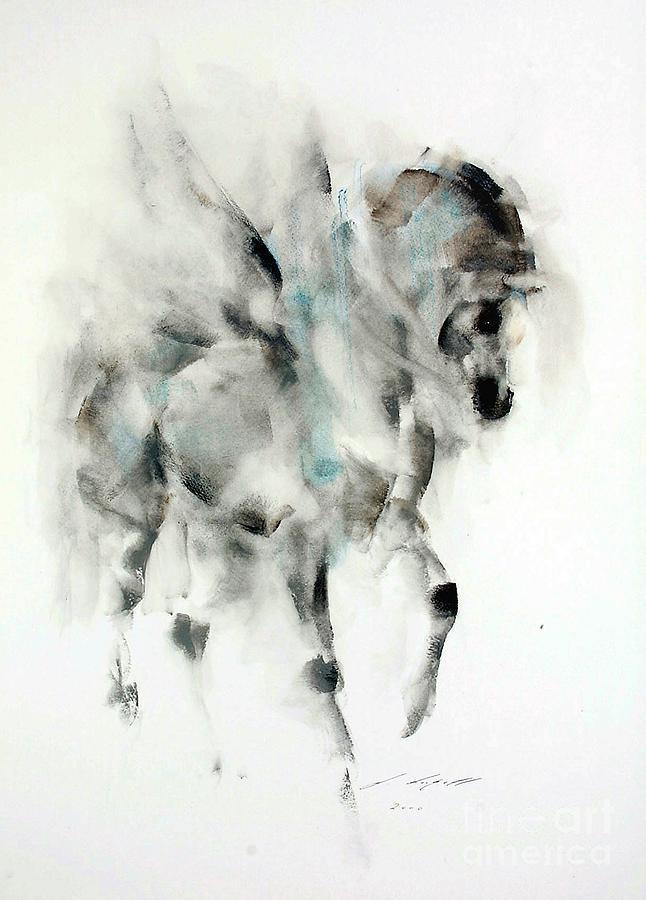 Horse Painting - Pegasus by Janette Lockett