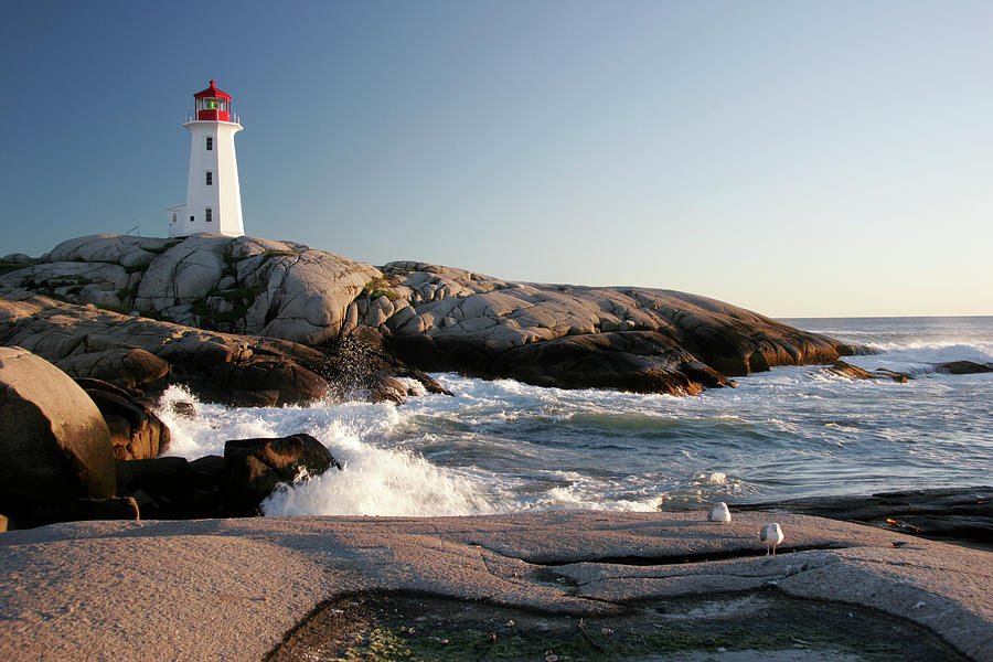 Peggys Cove Lighthouse & Waves Photograph by Cworthy