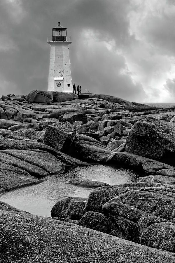 Lighthouses Photograph - Peggys Point Lighthouse - Black And White by Nikolyn McDonald