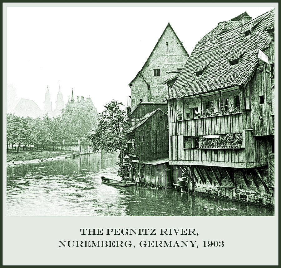 Pegnitz Canal, Nuremberg, Germany, 1903, Vintage Photograph by A Gurmankin