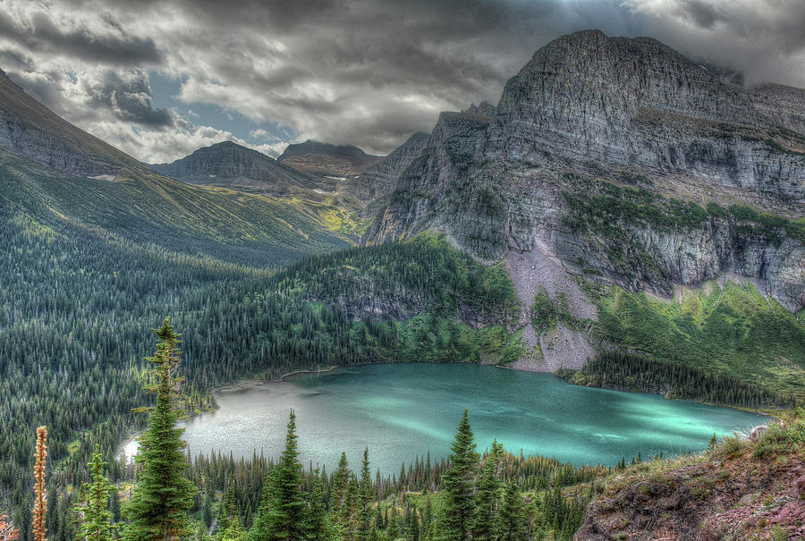Peigan Pass over Grinnell Glacier Lake by Michael Kirk
