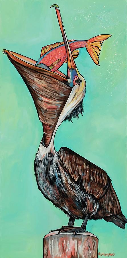 Pelican on The Edge by Patti Schermerhorn