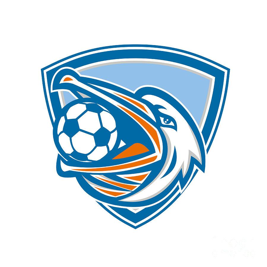 Soccer Digital Art - Pelican Soccer Ball In Mouth Shield Retro by Aloysius Patrimonio