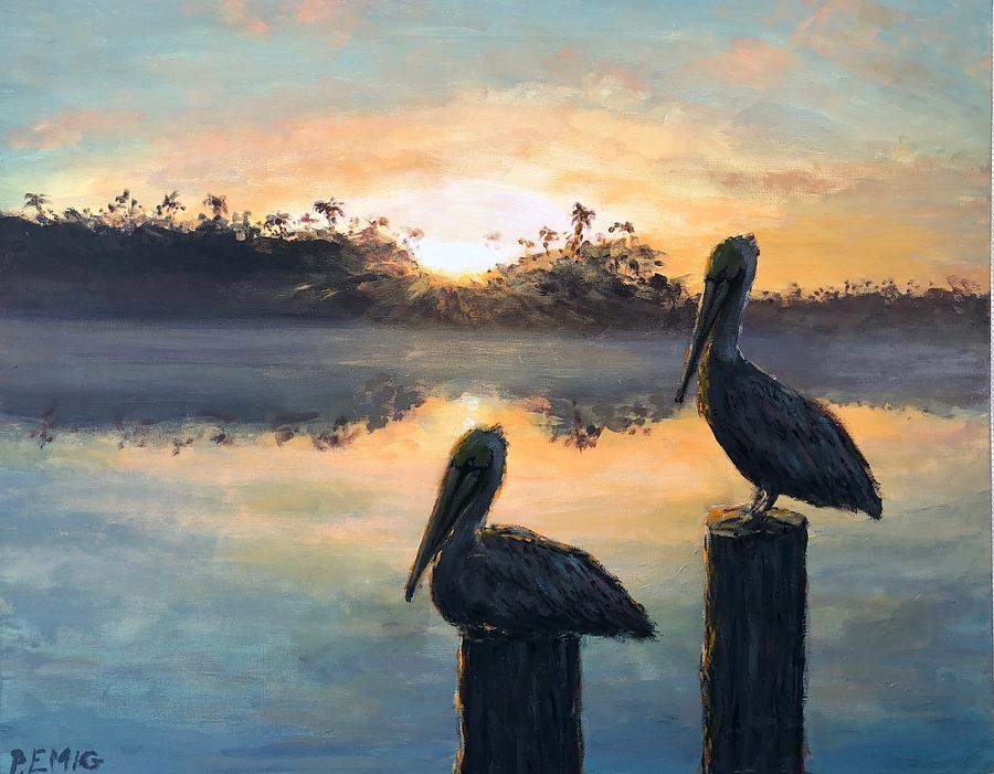 Pelican Painting - Pelican Sunrise by Paul Emig