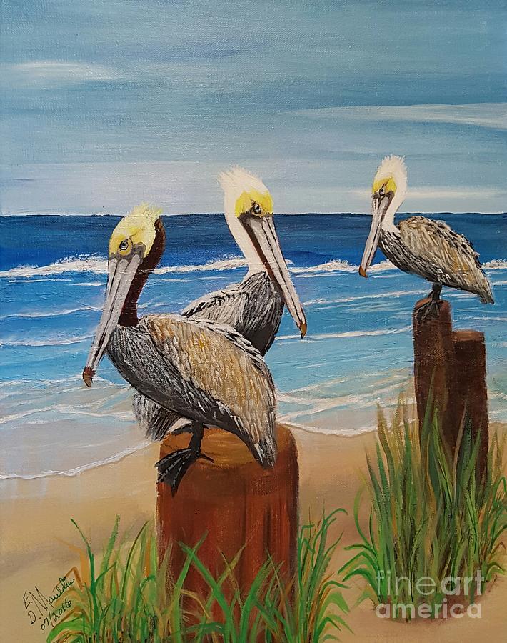 Pelicans Perched by Elizabeth Dale Mauldin