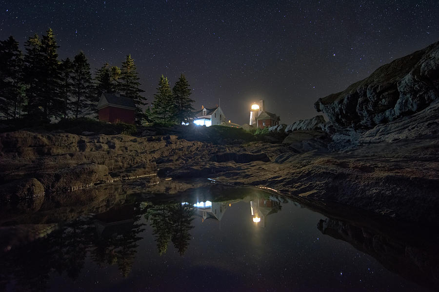 Pemaquid Point Lighthouse under the Night Sky by Kristen Wilkinson