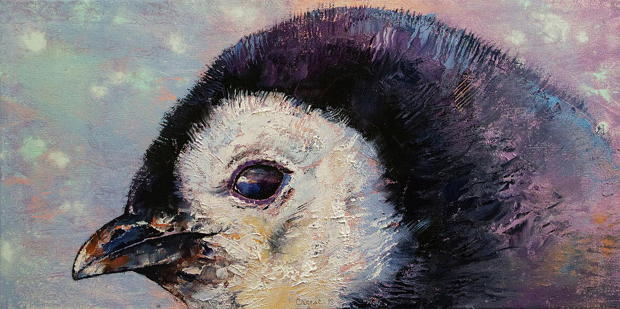 Baby Painting - Penguin Chick by Michael Creese