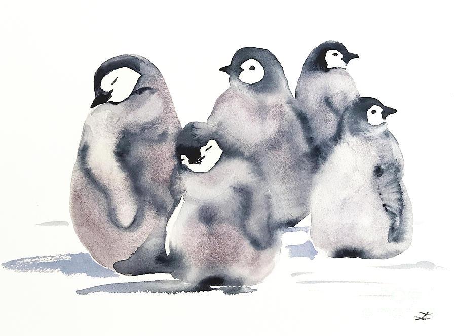 Penguin Creche Painting