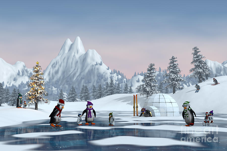 Ice Digital Art - Penguins On A Frozen Lake In A Snowy by Sara Winter