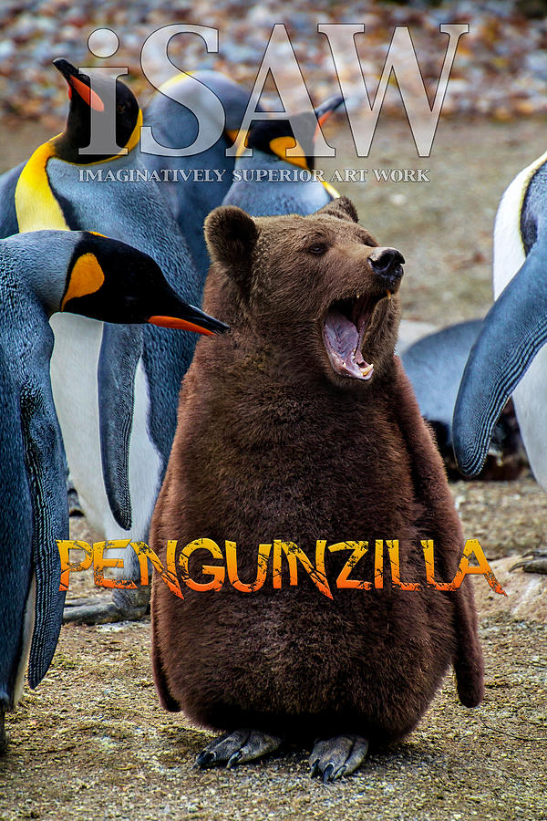 Penguin Digital Art - Penguinzilla by ISAW Company