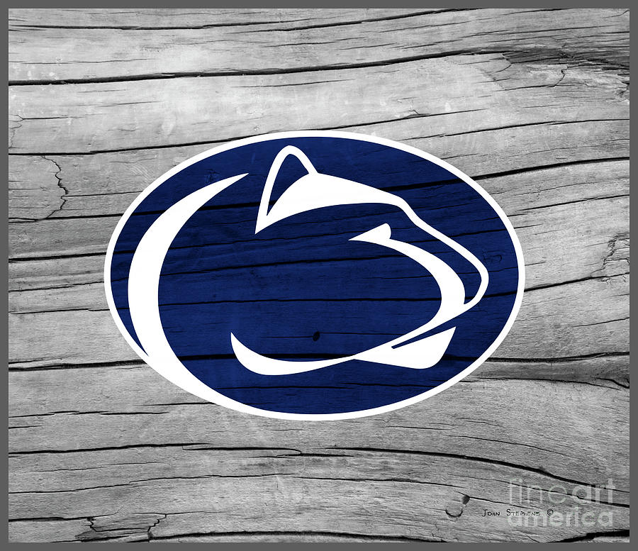 Penn State Nittany Lion On Rustic Wood Photograph