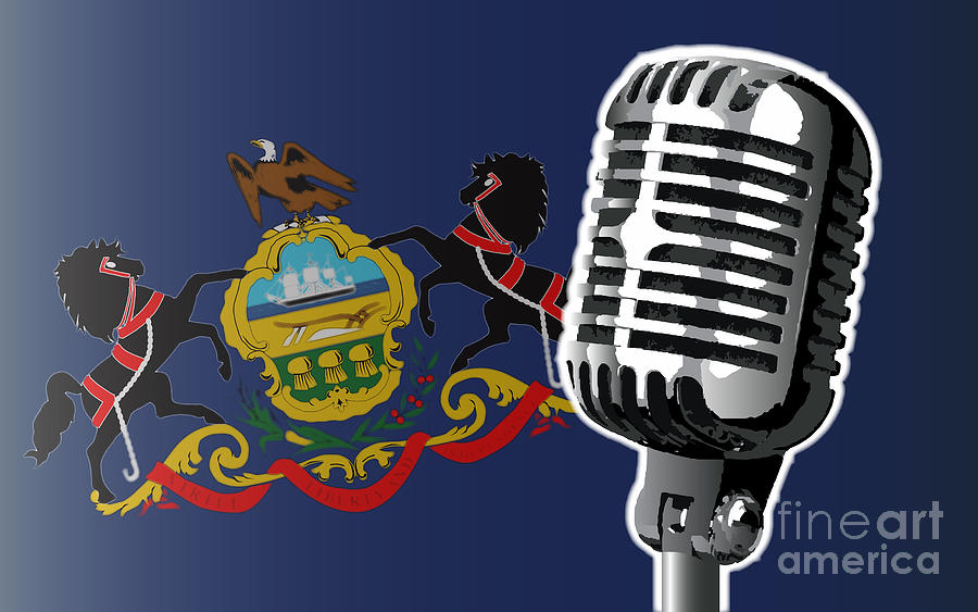 Pennsylvania Digital Art - Pennsylvania Flag And Microphone by Bigalbaloo Stock