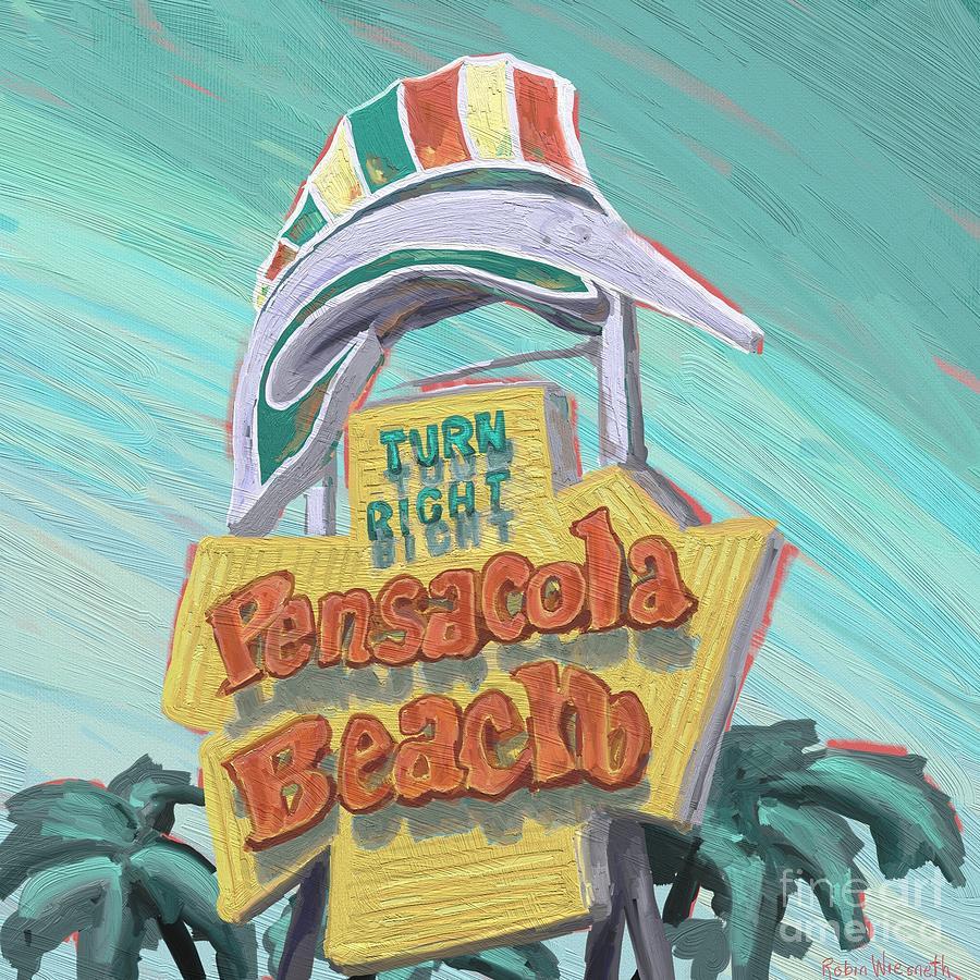 Pensacola Beach sign  by Robin Wiesneth