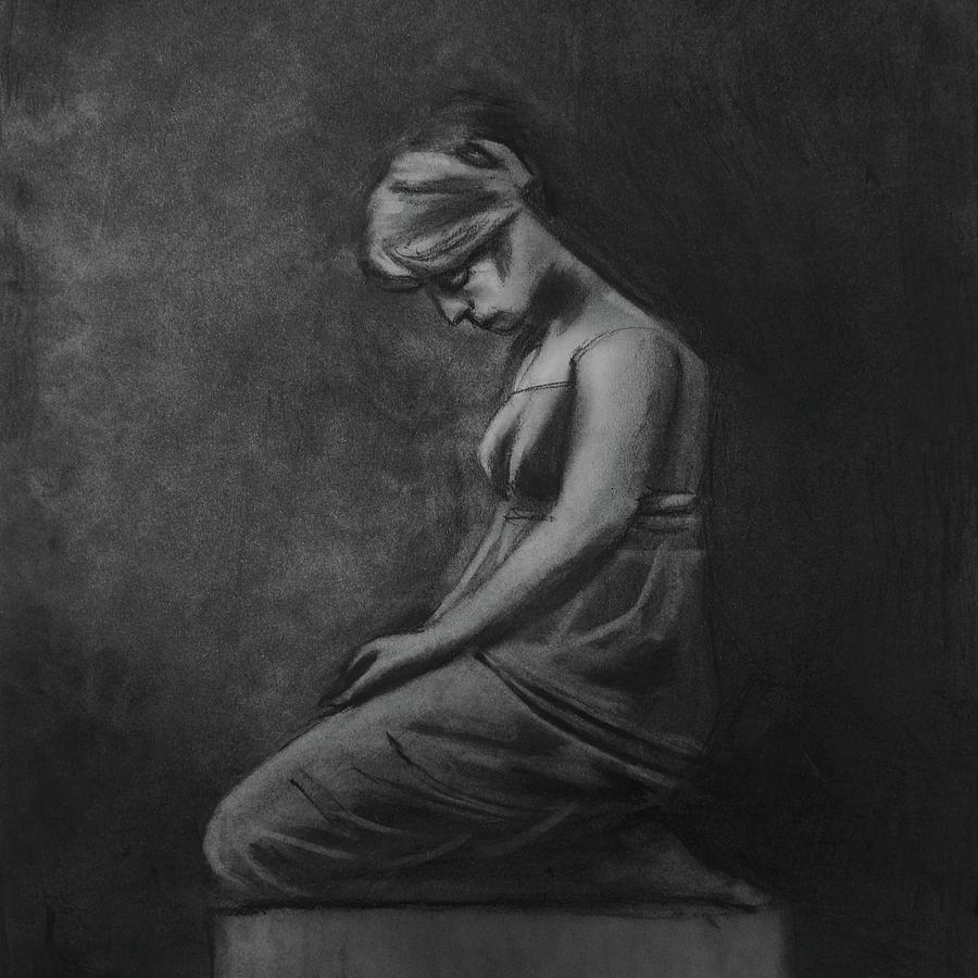 Pensive Woman Drawing - Pensive Lady  by Nadija Armusik