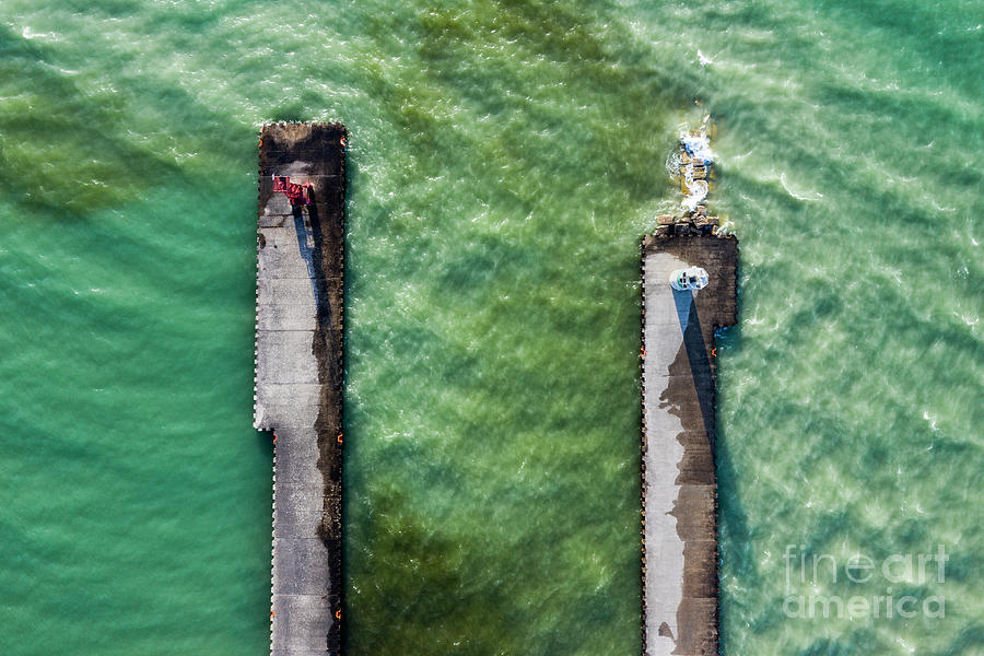 Pentwater Photograph - Pentwater Twin Piers Aerial by Twenty Two North Photography