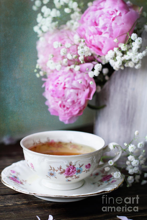 Peonies and Tea by Stephanie Frey