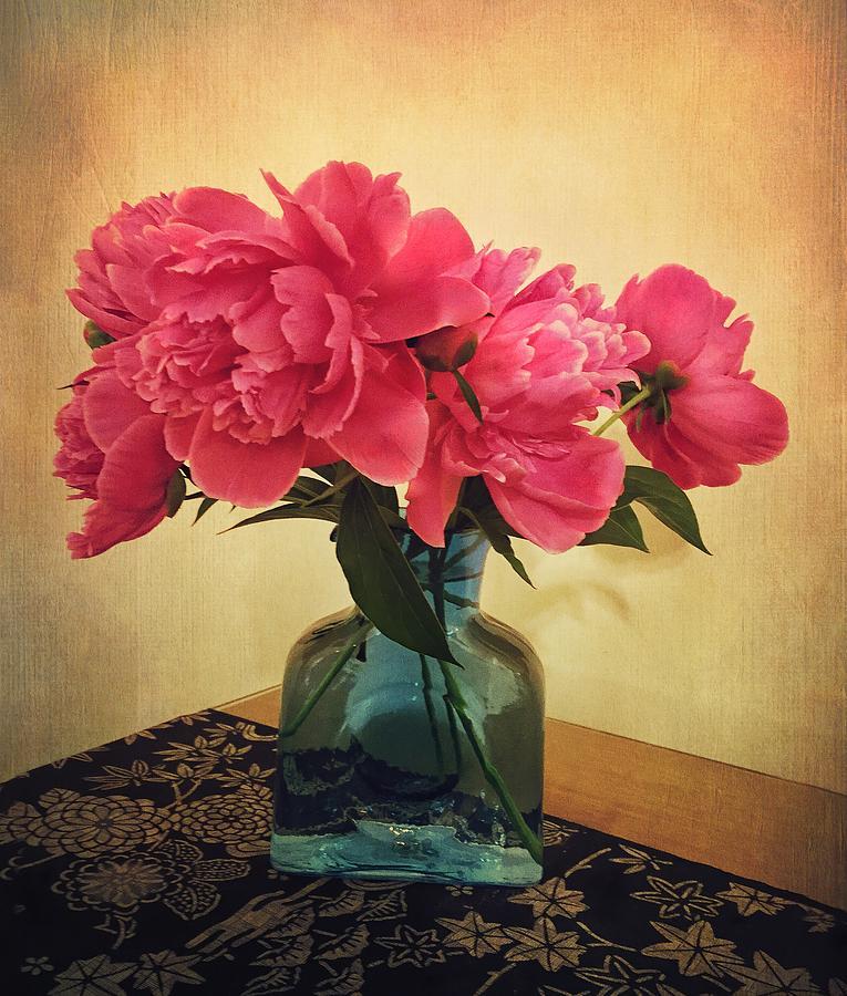 Peonies in Blue Vase by Victoria Porter