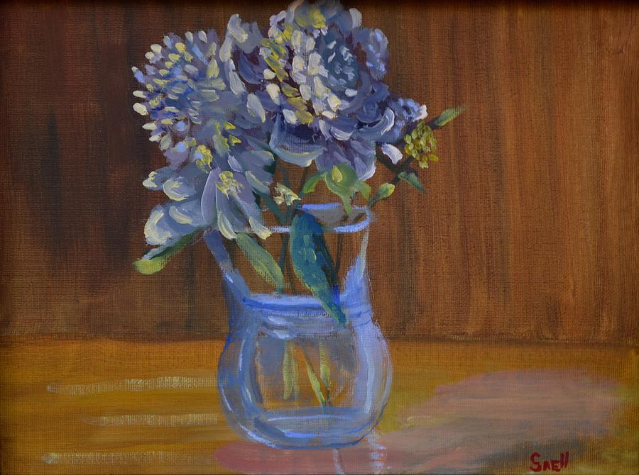 Oil Painting - Peonies by Roger Snell