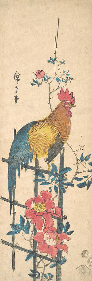 Japanese Painters Relief - Peony And Cock by Utagawa Hiroshige