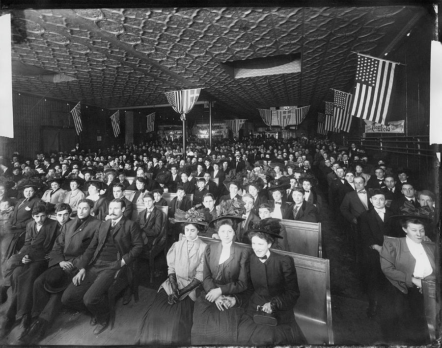 People Assembled In A Meeting Hall Photograph by The New York Historical Society
