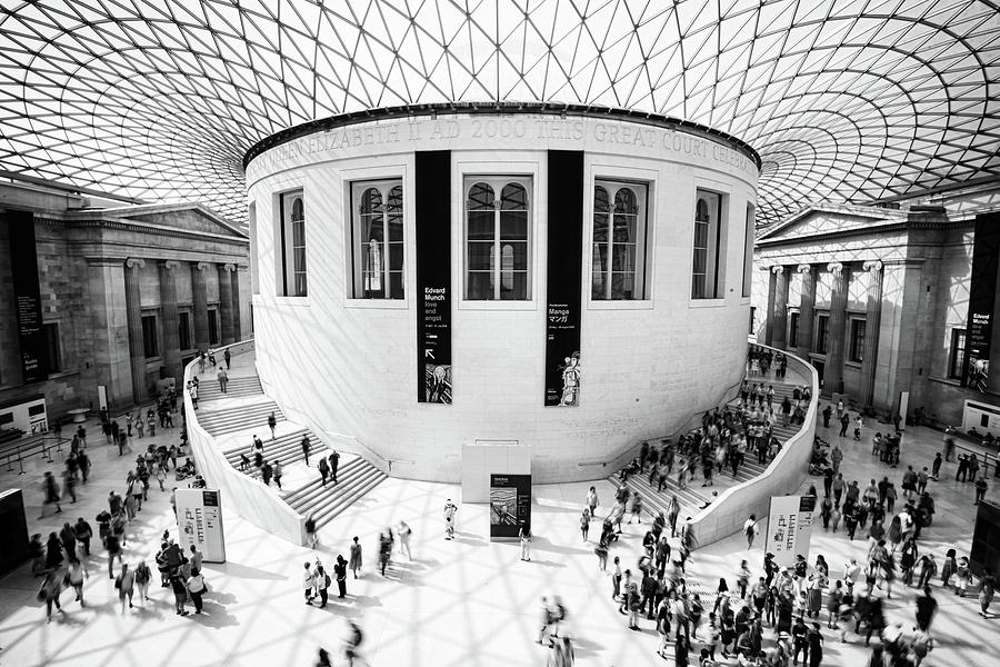 People at the main hall of the famous British museum in London U by Michalakis Ppalis
