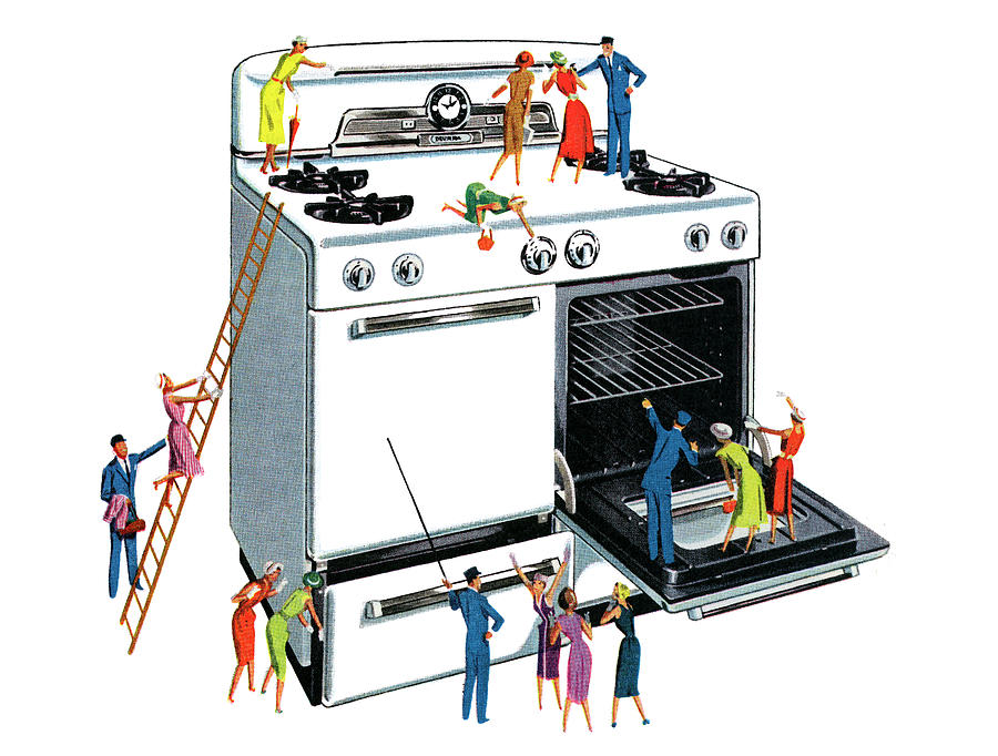 People Climbing Giant Oven Digital Art by Graphicaartis