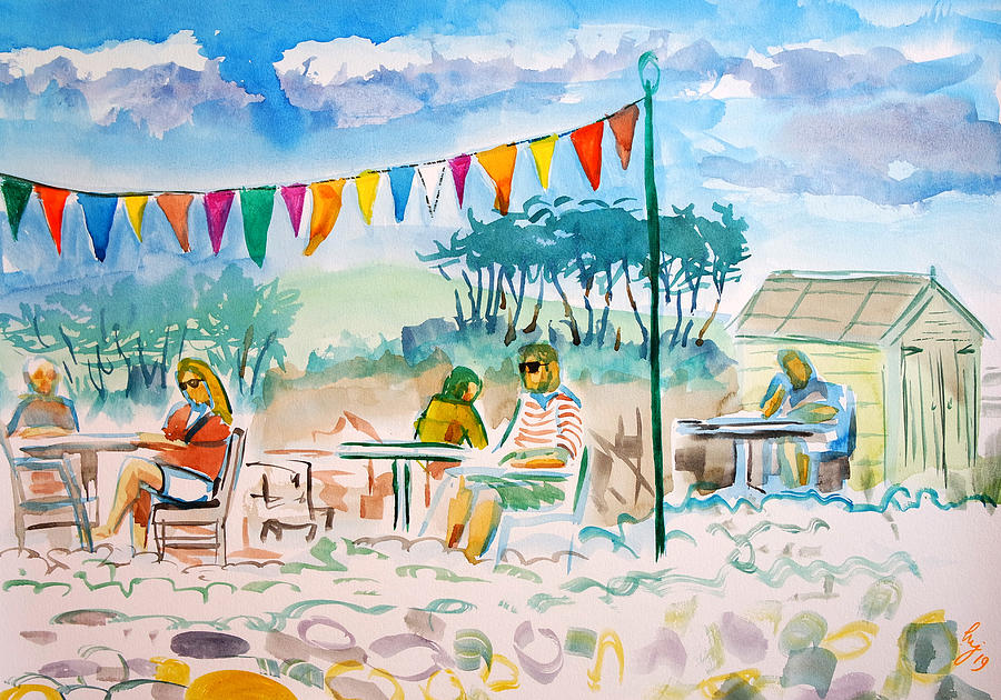 People drinking and chatting open air cafe at Budleigh Salteron beach en plein air painting by Mike Jory