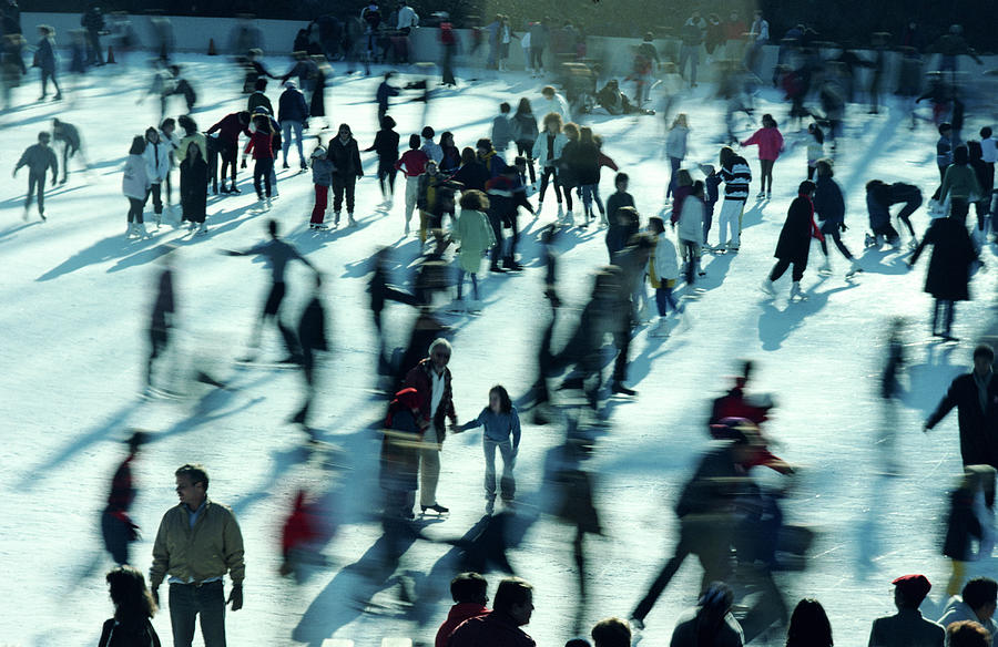 People Ice Skating, Elevated View Photograph by Alfred Gescheidt