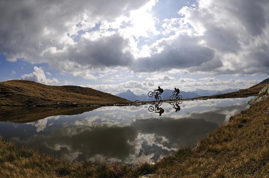 People On Mountain Bikes At Mountain Photograph by N Eisele-hein / Look-foto