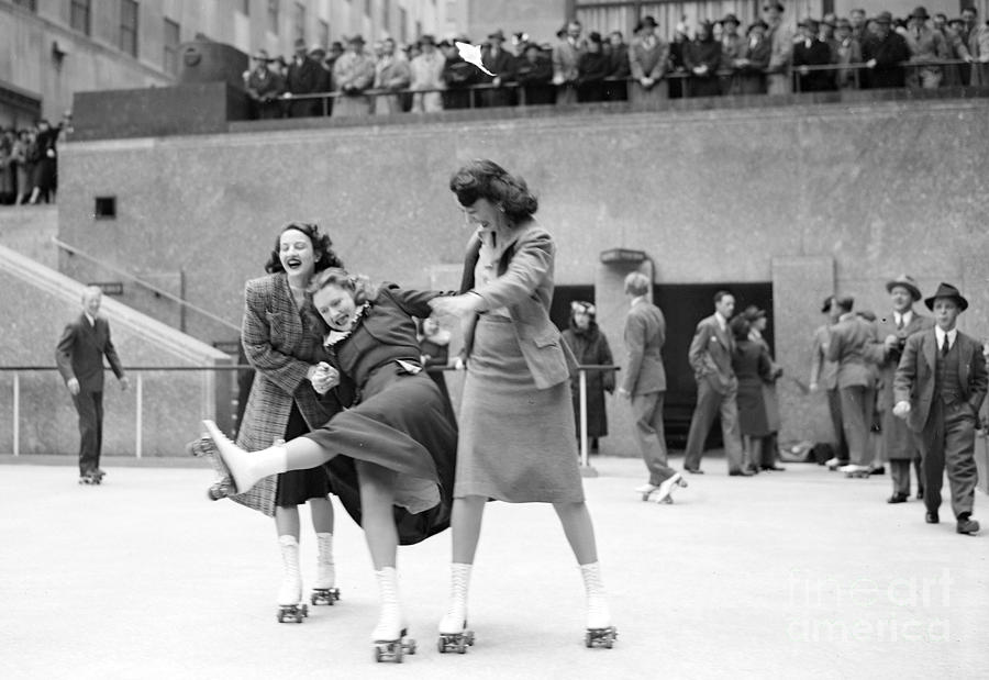 People Skating At The Opening Of The Photograph by New York Daily News Archive