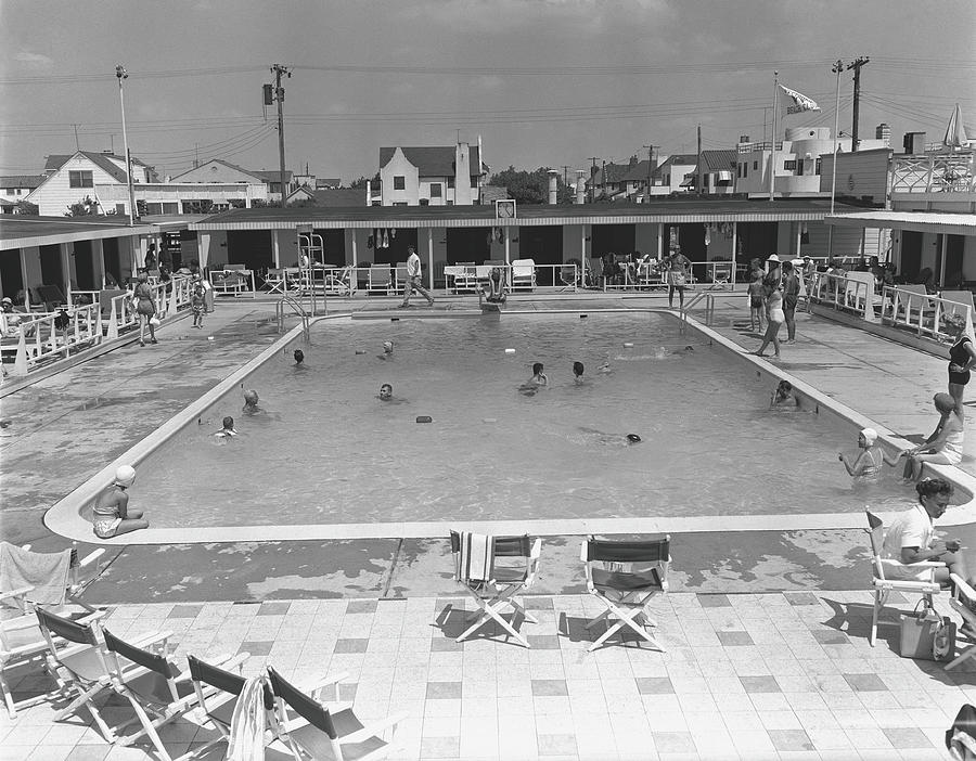 People Swimming In Pool, B&w, Elevated Photograph by George Marks
