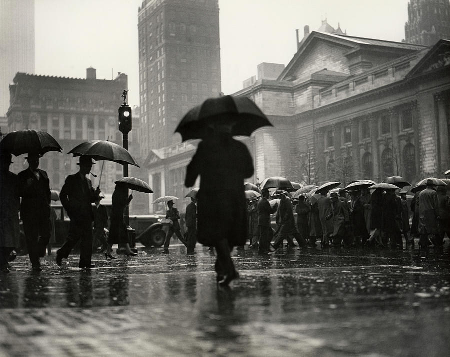 People With Umbrellas In Urban Scene Photograph by George Marks