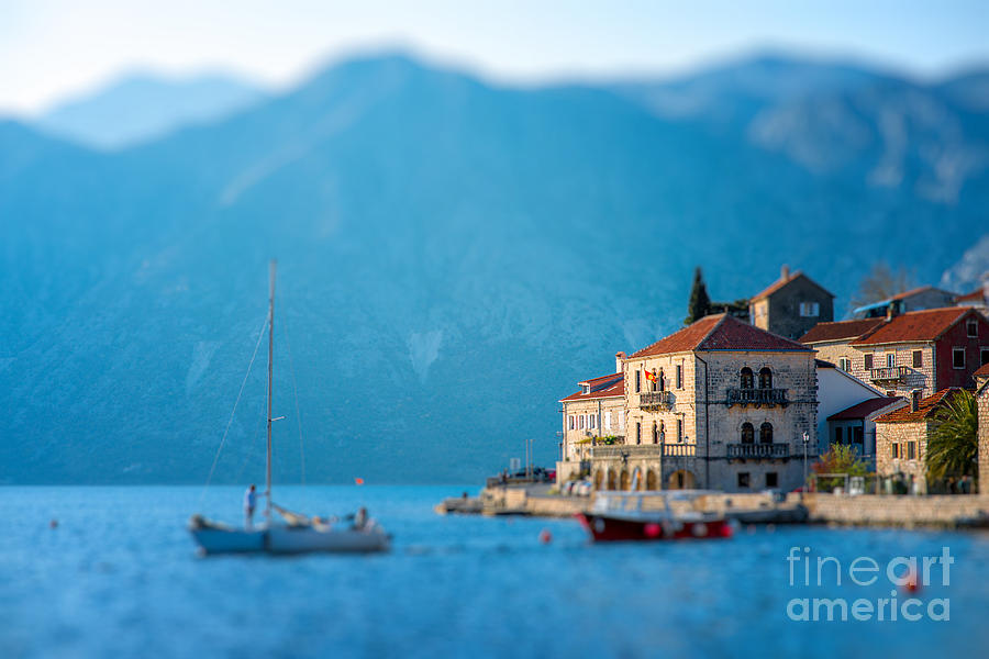 City Photograph - Perast City In Kotor Bay On The Sunset by Rosshelen