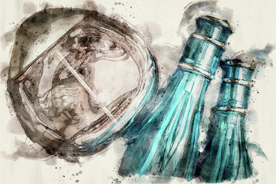 Three Perfume bottles digital art by Edita Edith Anna Brus