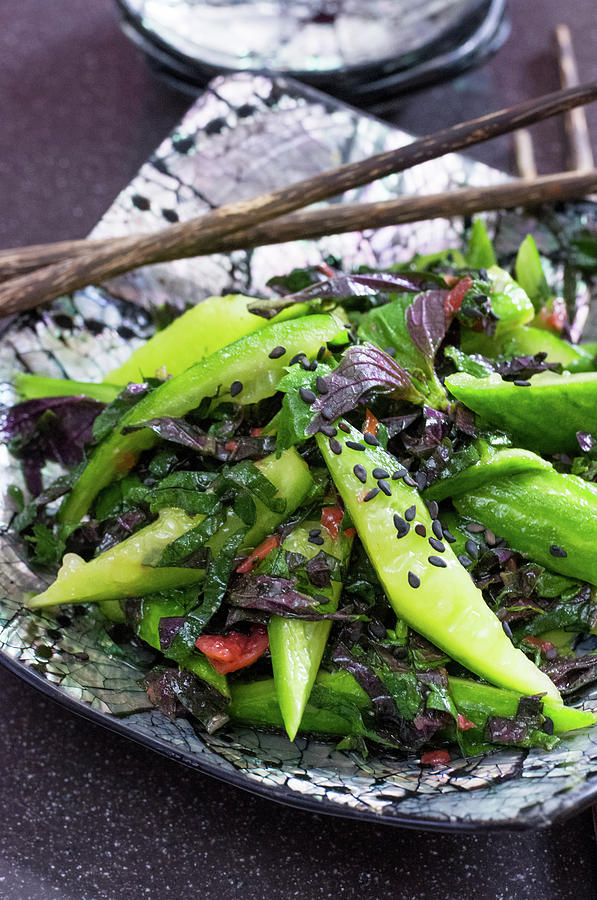 Perilla And Cucumber Salad Photograph by Katya Lyukum