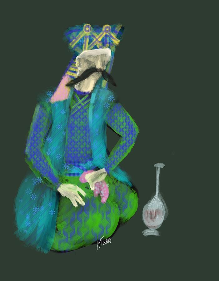 Persia Digital Art - Persian Man With Wine by Lois Ivancin Tavaf