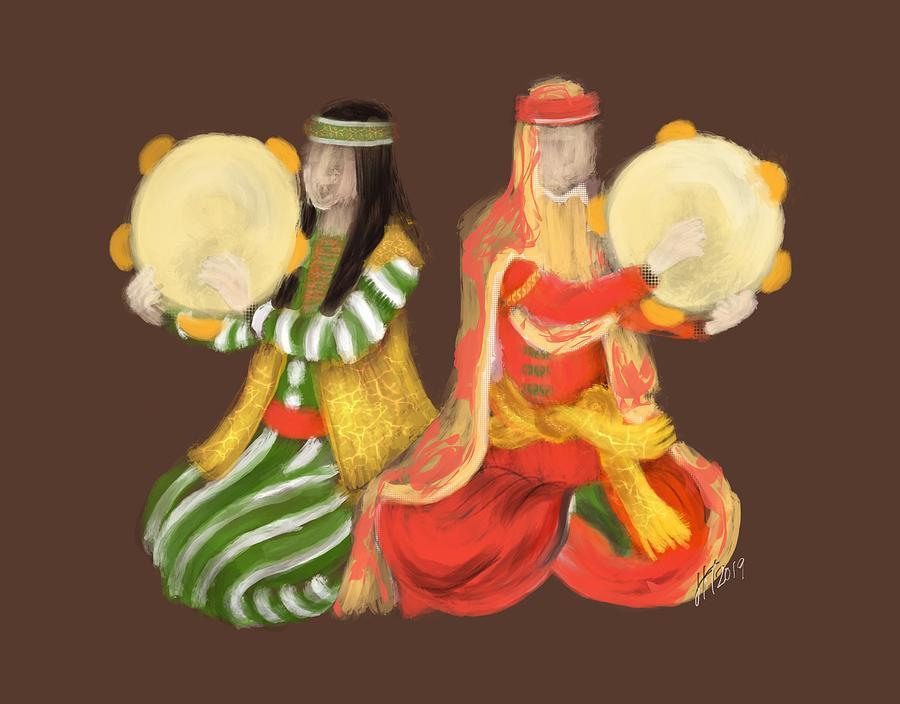 Persian Women Digital Art - Persian Women Playing Tambourine by Lois Ivancin Tavaf