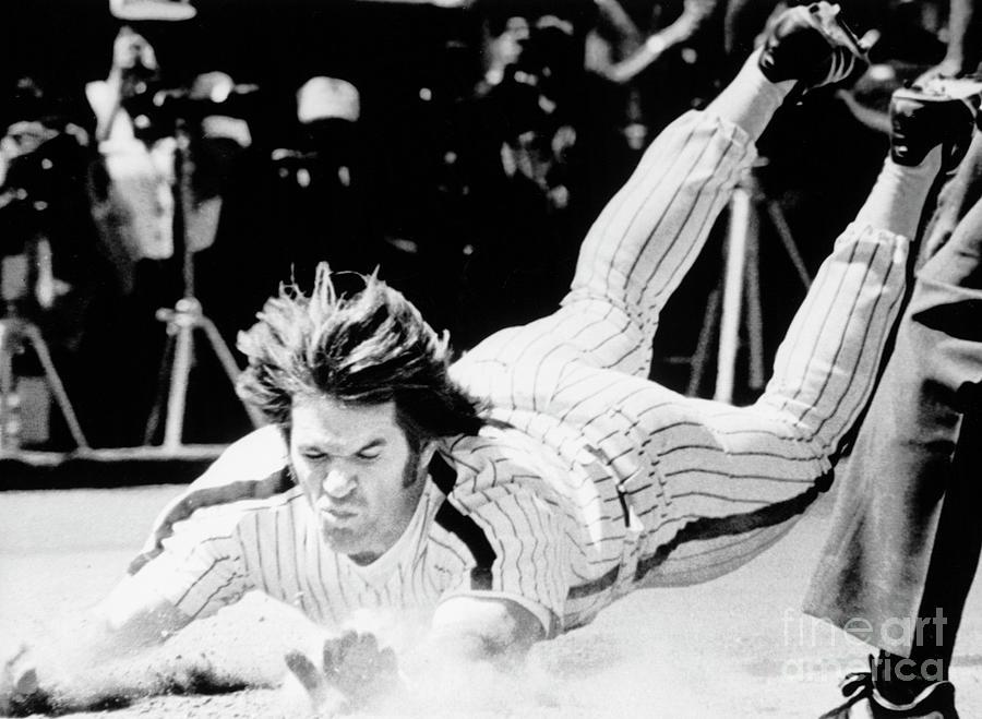 Pete Rose Sliding Into Home Photograph by Bettmann
