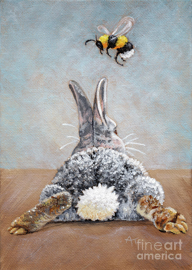 Peter's Bunny Tail Rabbit Painting by Annie Troe