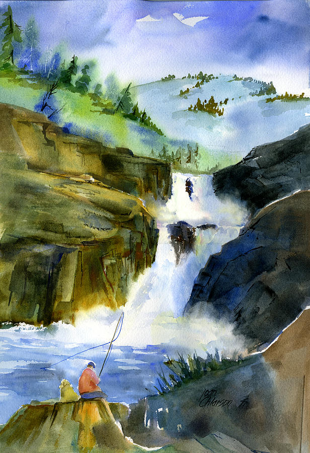 Petroglyph Falls Fishing by Joan Chlarson