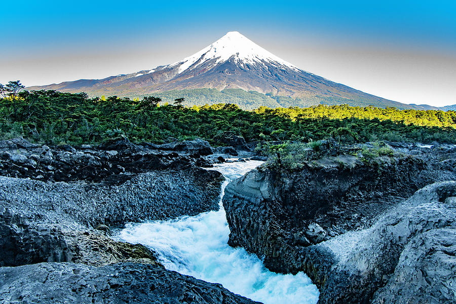 Petrohue Waterfalls with Osorno Volcano, Chile  by Venetia Featherstone-Witty