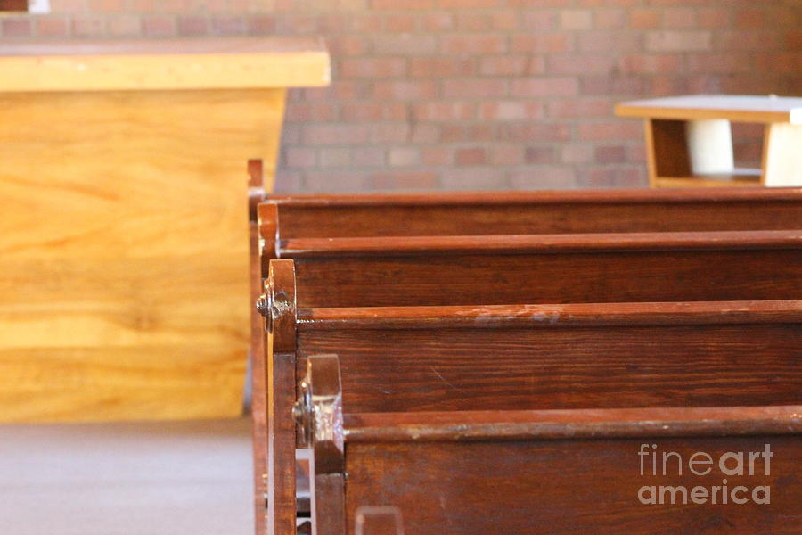 Old Chapel Photograph - Pews in Old Stonework Church at Fort Stanton New Mexico by Colleen Cornelius