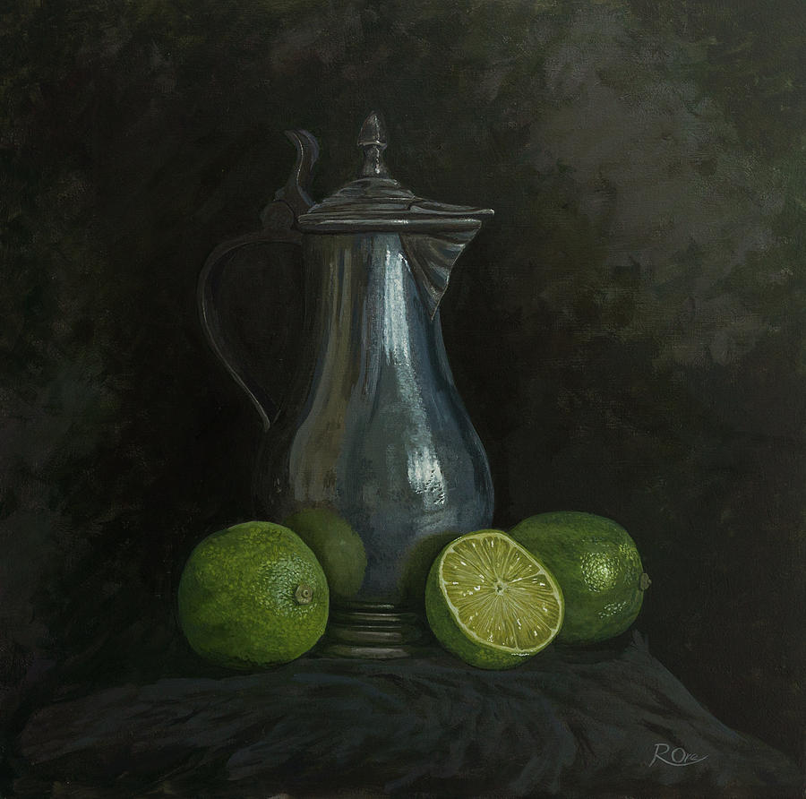 Pewter Painting - Pewter and Limes by Raymond Ore
