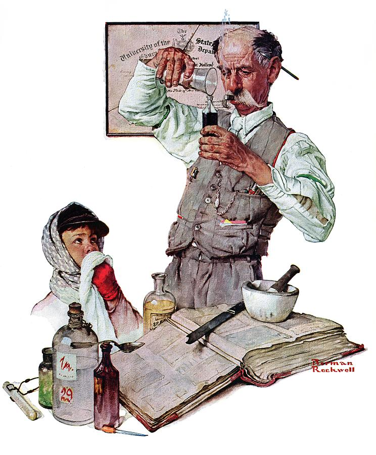 Boy Drawing - Pharmacist by Norman Rockwell