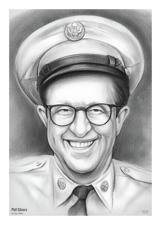 Phil Silvers Drawing - Phil Silvers As Sgt Bilko by Greg Joens