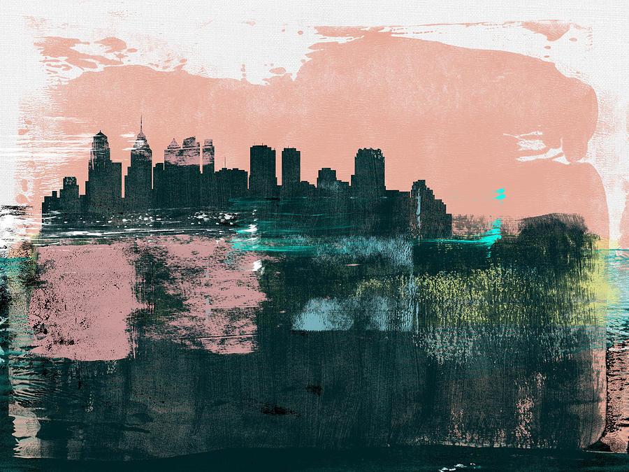 Philadelphia Mixed Media - Philadelphia Abstract Skyline II by Naxart Studio